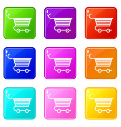 Shopping trolley icons 9 set vector