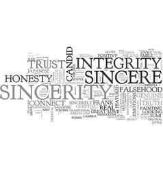 Sincerity word cloud concept vector