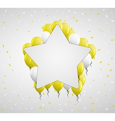 Star badge and yellow balloons vector