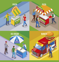 Street food isometric design concept vector
