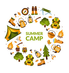 summer camp banner template with hiking equipment vector image