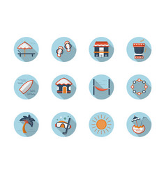 Summer rest round flat color icons set vector
