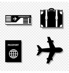 Summer travel icon set isolated on transparent vector