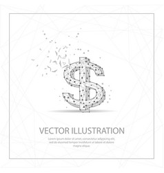 Symbol dollar currency digitally drawn low poly vector