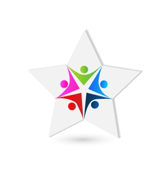 Teamwork star shape logo vector