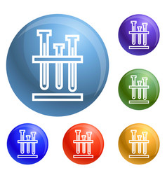 test tube stand icons set vector image