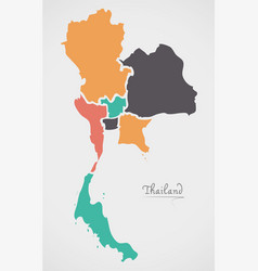 thailand map with states and modern round shapes vector image