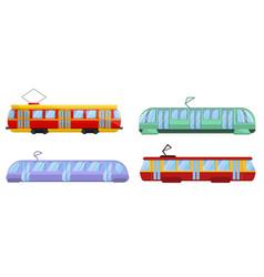 tram car icons set cartoon style vector image