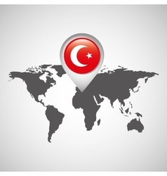 Turkey flag pin map design vector