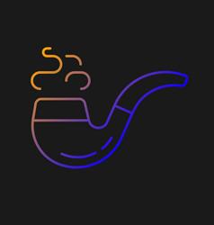Vintage smoking pipe gradient icon for dark theme vector