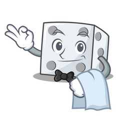 Waiter dice character cartoon style vector