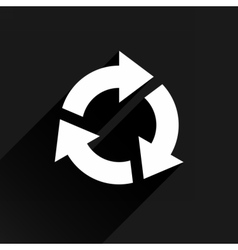White arrow icon refresh sign on black background vector image