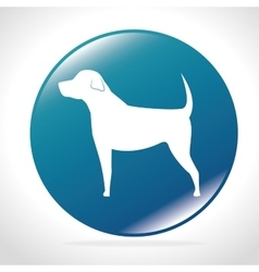 White silhouette big dog blue button icon design vector
