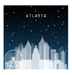 Winter night in atlanta night city in flat style vector