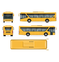 Yellow school bus mockup vector