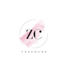 Zc z c watercolor letter logo design with vector