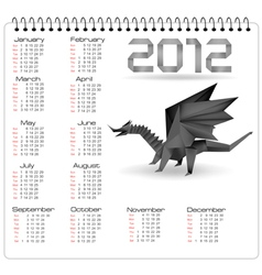 2012 year calendar with black origami dragon vector image