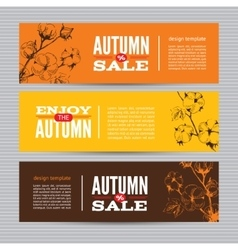 Autumn banners set with stems of cotton plants vector image