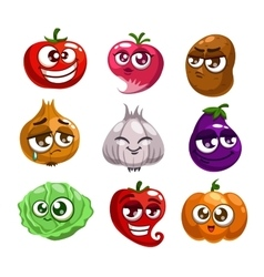 Cartoon vegetables characters vector image