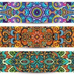 Festive Ornamental banner Ethnic tribal Set vector image vector image