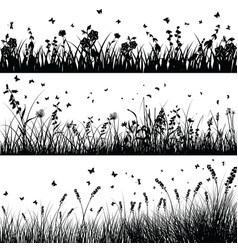 grass line set vector image vector image