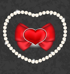 Red heart with bow and pearls for Valentine Day vector image vector image