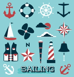 Sailing Icons and Symbols vector image