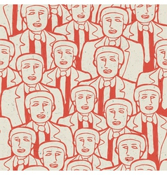 seamless businessman crowd pattern vector image