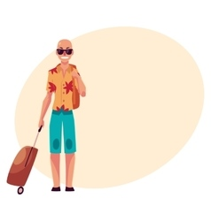 Young bald man in sunglasses and havaii shirt with vector image
