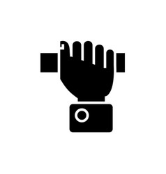 hand pulling icon black sign vector image