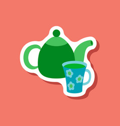 paper sticker tea kettle and cup vector image vector image