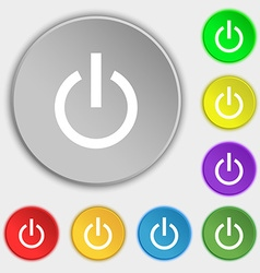 Power icon sign Symbol on five flat buttons vector image