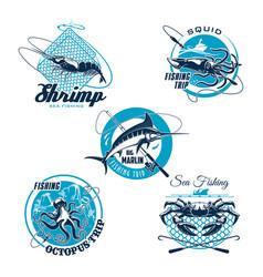 sea fishing trip and sporting club symbol set vector image vector image