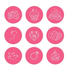 St Valentine Day icons thin line style flat vector image