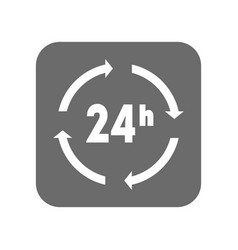 customer service icon with 24 hours sign vector image