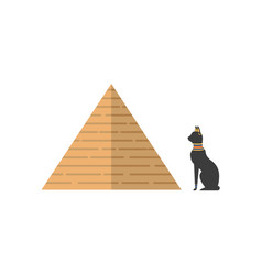 flat egypt pyramid and black cat icon vector image