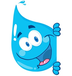 Happy Water Drop Looking Around A Sign vector image vector image