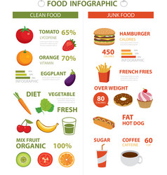 healthy and junk food infographic vector image