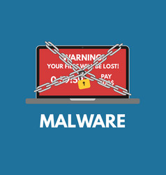 malware cyber attack red alert notification and vector image vector image