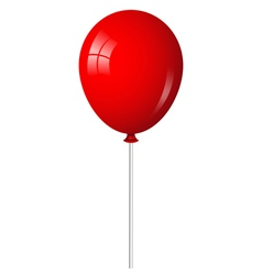 red balloon on stick vector image vector image