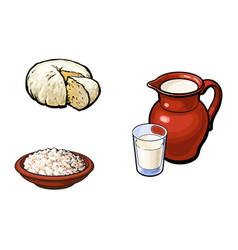 sketch milk grlass jug cottage cheese set vector image vector image