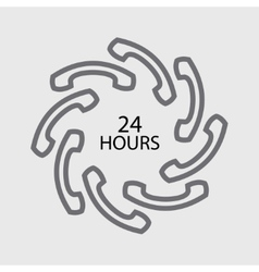 24 hours handset icon vector image vector image