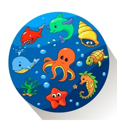 Cute sea creatures set vector image