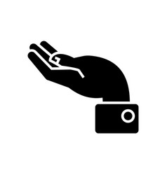 hand support icon black sign vector image vector image