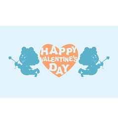 Happy Valentines day Heart and kupiony Little vector image