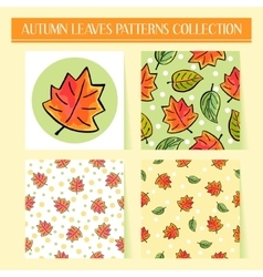 Seamless hand drawn autumn leaves patterns set vector image