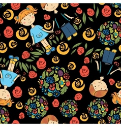 seamless pattern with kids and summer symbols vector image