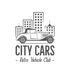 Vintage city car label design Classic auto badge vector image vector image