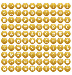 100 festive day icons set gold vector