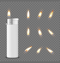 3d realistic white blank cigarette lighter vector image